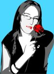 A girl with rose in Vectors